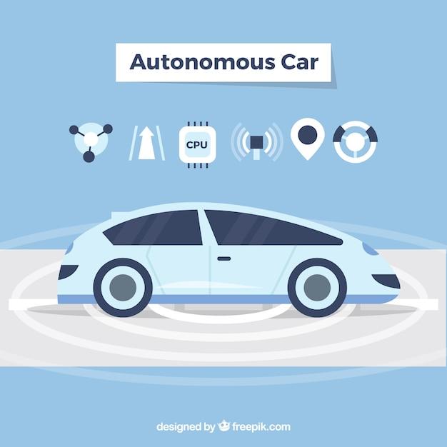 Futuristic autonomous car with flat design Free Vector