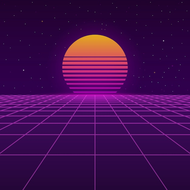 Futuristic background the 80`s. Premium Vector