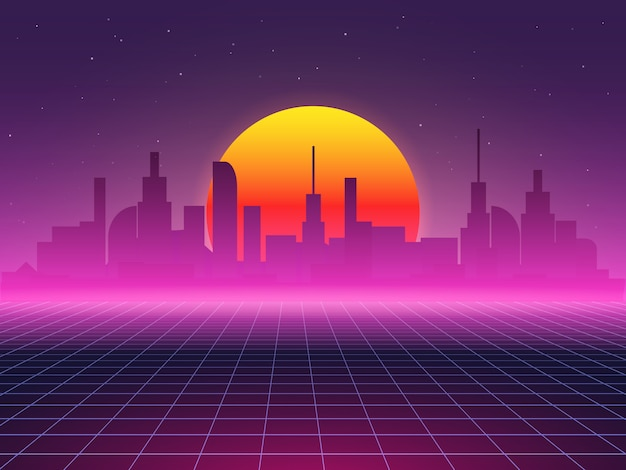 Futuristic background of city landscape. sci-fi 80 s abstract illustration Premium Vector