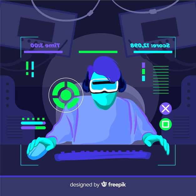Futuristic background of a computer gamer Free Vector