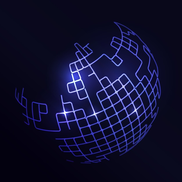 Futuristic background with an abstract blue globe Free Vector