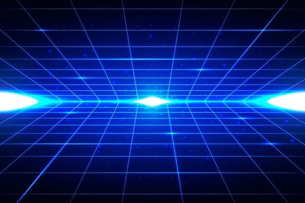 青い形の未来的な背景 無料ベクター