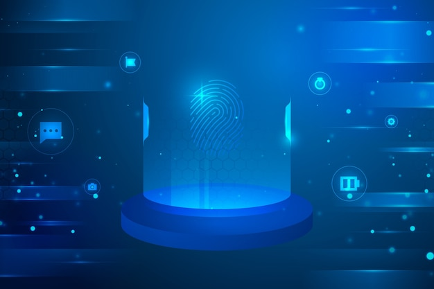 Futuristic background with cyber circular icons Free Vector