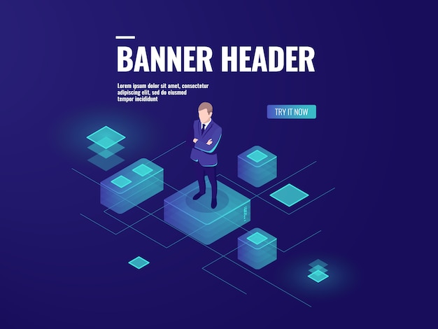 Futuristic background with man stay on the platform, business audit, data analysis Free Vector