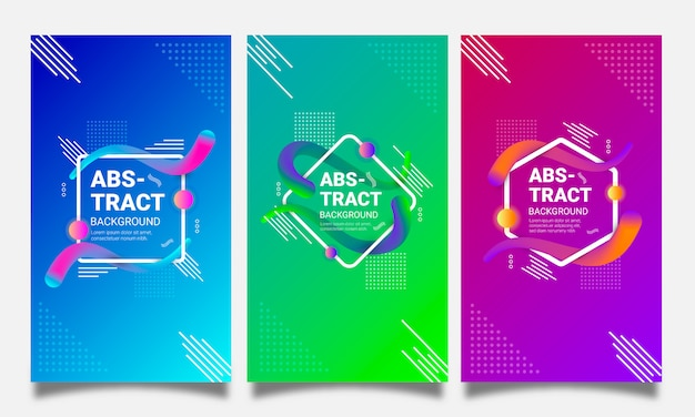 Futuristic backgrounds set with abstract geometric shapes and gradients Premium Vector
