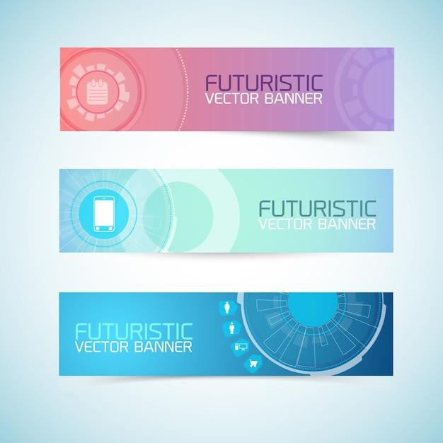 Set di banner futuristici Vettore gratuito