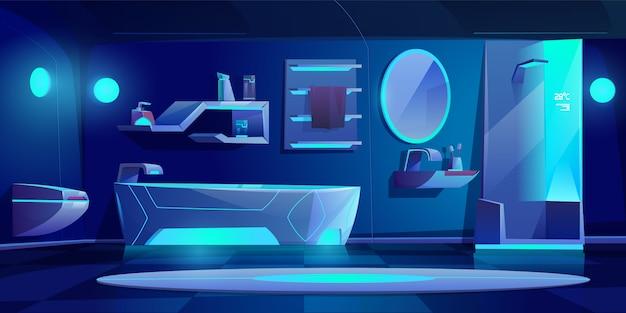 Interno del bagno futuristico con mobili e cose incandescente con luce al neon al buio, vasca da bagno, cabina doccia, lavabo, water, specchio, mensola, casa moderna di notte. Vettore gratuito
