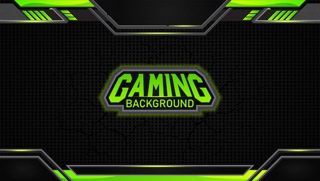Futuristic black and green gaming background Premium Vector