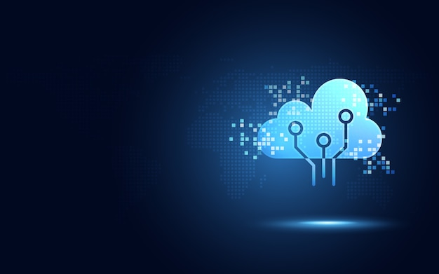 Futuristic blue cloud with pixel digital transformation abstract technology background Premium Vector