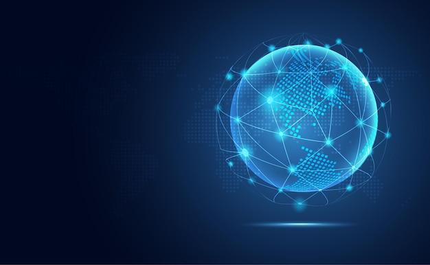 未来的な青い地球の抽象的な技術の背景。 Premiumベクター