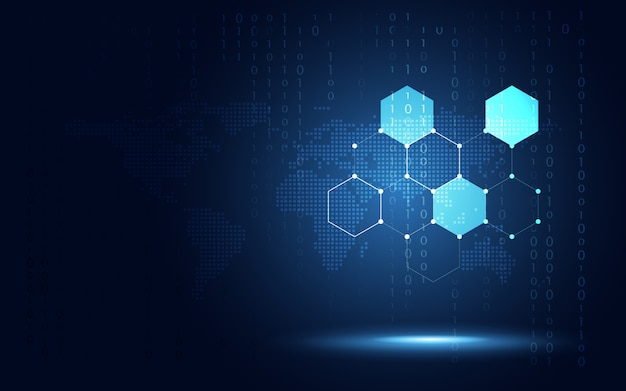 Futuristic blue hexagon honeycomb background Premium Vector