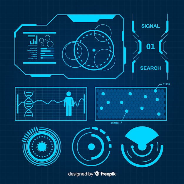 Futuristic blue infographic element collection Free Vector