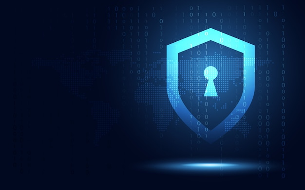 Futuristic blue shield background Premium Vector