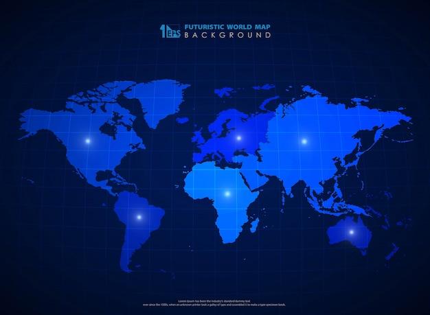 Futuristic blue world map background of technology. Premium Vector