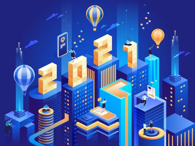 Ảnh isometric 2021 về thành phố kinh doanh  khái niệm kinh doanh năm mới hạnh phúc. các tòa nhà chọc trời hiện đại trừu tượng, cảnh quan thành phố đô thị, nhân viên làm việc tại trung tâm thành phố