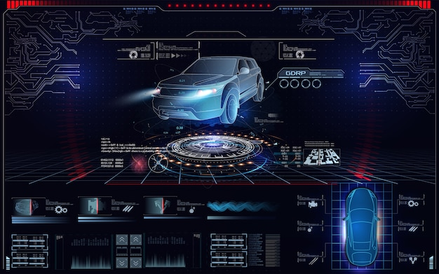 未来的な車のユーザーインターフェース。 hud、uiguiのホログラムカースタイル。車のハードウェア診断状態。仮想グラフィカルインターフェイスuigui hud自動スキャン、分析、および診断 Premiumベクター