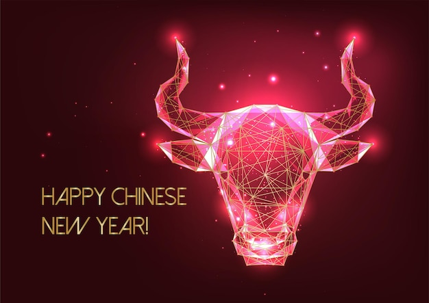 Futuristic chinese new year greeting card template with glowing golden low polygonal ox horoscope sign on red background. modern wireframe mesh design Premium Vector