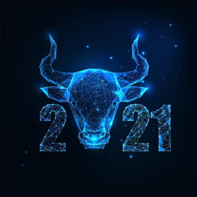 Futuristic chinese new year greeting card template with glowing low polygonal ox horoscope sign and numbers on dark blue background. modern wireframe mesh design Premium Vector
