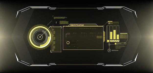 未来的なサークルインターフェイス画面。青色の背景に抽象的なスタイル。 Premiumベクター