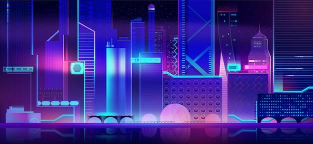 Futuristic city background with neon illumination. Free Vector