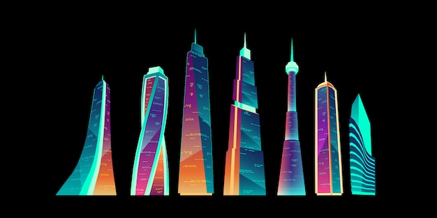 Futuristic city buildings with neon glowing set. Free Vector