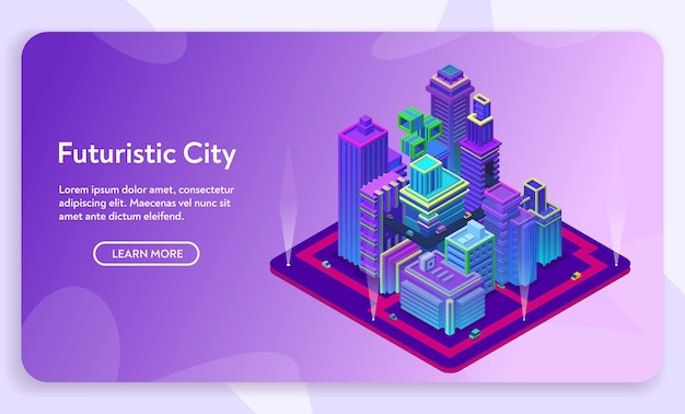 Futuristic city concept. isometric view of ultraviolet neon modern buildings, business center with skyscrapers. urban road traffic infrastructure. Premium Vector