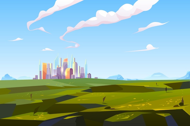Futuristic city in green valley among mountains Free Vector