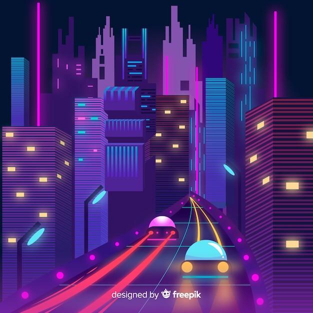 Futuristic city at night illustration Free Vector