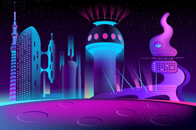 Futuristic city on other planet, megapolis Free Vector