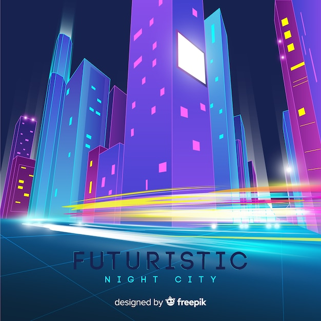 Futuristic city road background Free Vector