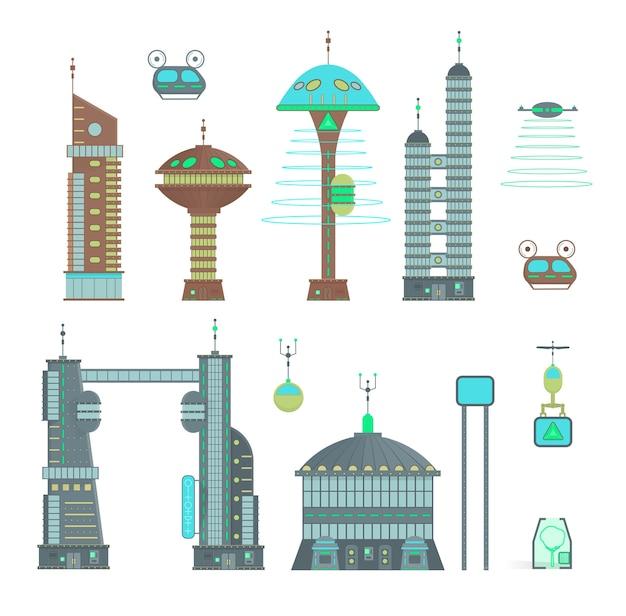 漫画のデザインスタイルで未来都市を設定します。近代的な建物と未来的な交通のある近代的な都市のパノラマ:高層ビル、空飛ぶ車、ドローン。 Premiumベクター