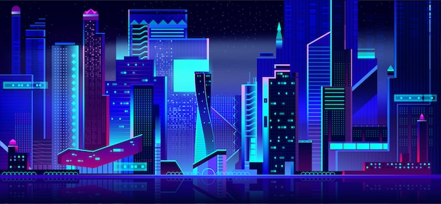 Futuristic cityscape panoramic view at night time. Free Vector