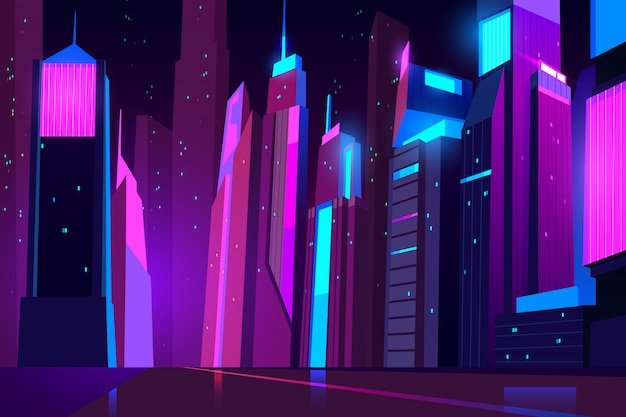 Futuristic cityscape and road view with glowing illumination. Free Vector