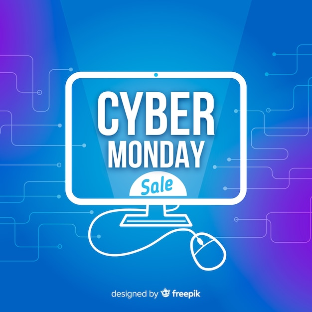Futuristic cyber monday sale background with neon effects Free Vector
