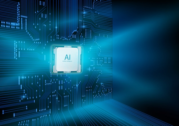 Futuristic design of an artificial intelligence chip with circuit board. Premium Vector