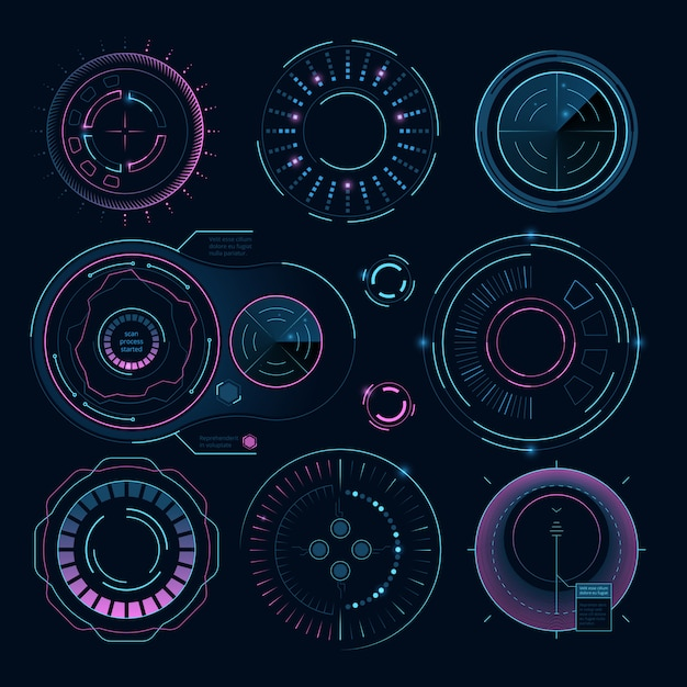 Futuristic digital graphics, hud radial shapes for web interface Premium Vector