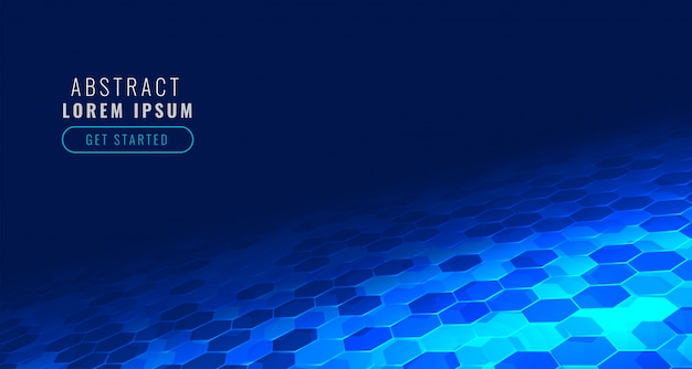 Futuristic digital hexagonal tech in perspective style background Free Vector