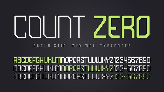 Futuristic display font , alphabet, character set Premium Vector