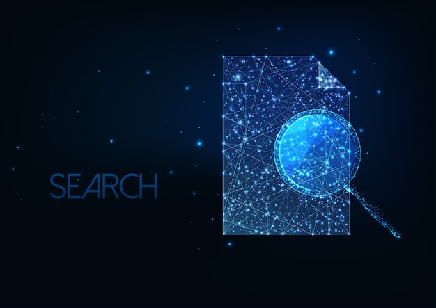 Futuristic document search concept with glowing low polygonal magnifying glass and paper document. Premium Vector