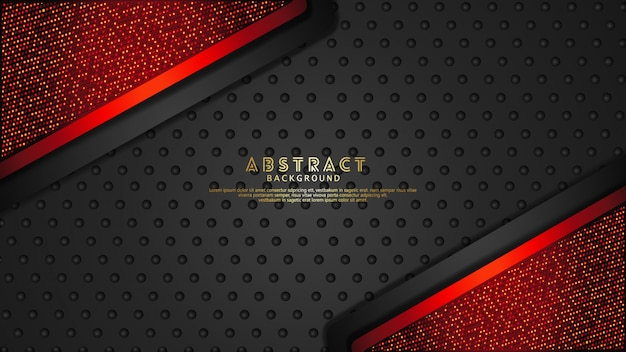 Futuristic and dynamic dark red and black overlap layers background with glitters effect. realistic halftone dots pattern on textured dark background Premium Vector