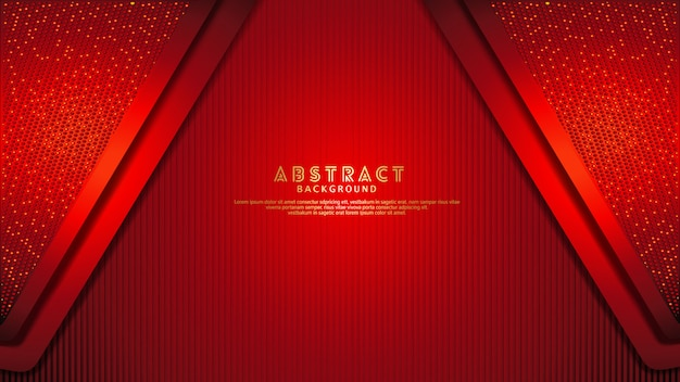 Futuristic and dynamic dark red overlap layers background with glitters effect. realistic vertical lines pattern on textured dark background Premium Vector