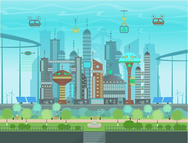 Futuristic eco city in  cartoon style. panorama of a modern city with modern buildings, futuristic traffic, park with fountain, solar, panels windmills.  illustration. Premium Vector