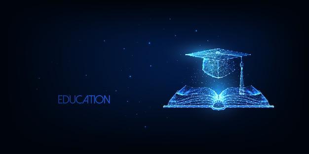 Футуристическая концепция образования с светящейся низкой многоугольной открытой книгой и выпускной крышкой, изолированной на синем фоне. современная проволочная сетка. Premium векторы