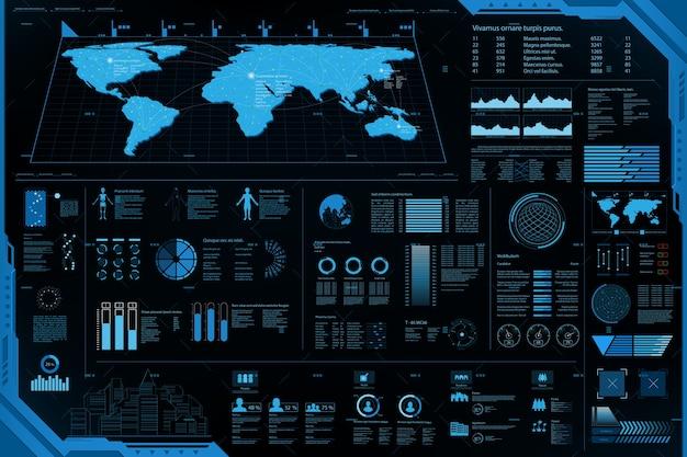 Futuristic element panel.world map data analysis information Premium Vector