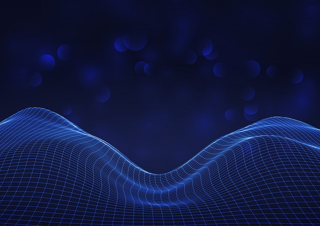 Futuristic flowing grid on bokeh lights background Free Vector