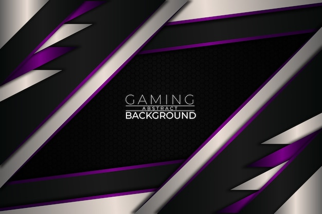 Futuristic gaming background purple style Premium Vector
