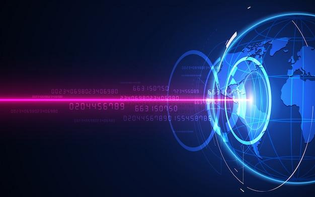 Futuristic globalization interface, a sense of science and technology abstract graphics. Premium Vector