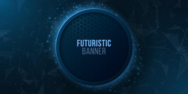 明るい幾何学的粒子と未来的な光るバナー。モダンなデザイン。神経叢スタイル。 Premiumベクター