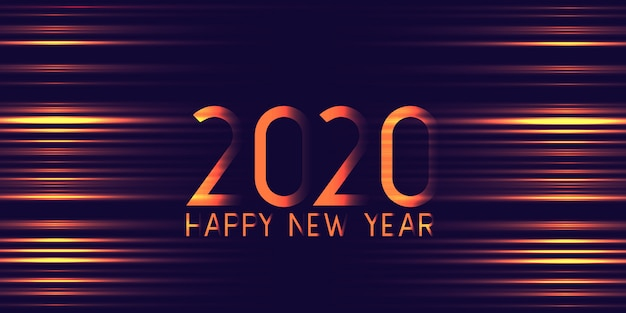 Futuristic glowing happy new year banner Free Vector