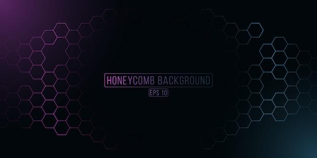 未来的な輝く六角形のハニカムグリッド。紫と青のサイバー背景 Premiumベクター